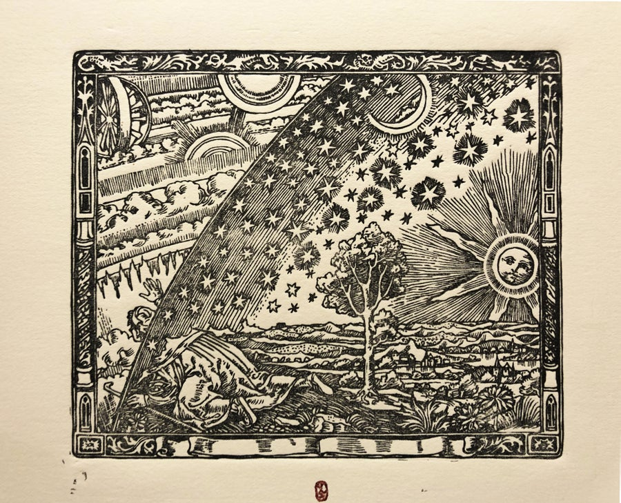 Image of Original Woodcut of Magical View Into Universe according to Flammarion