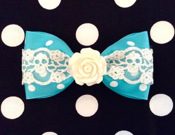 Image of Vintage Rose Skull and Dots Hair Bow - Turquoise - White Lace - White Rose
