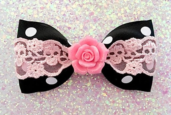 Image of Vintage Rose Skull and Dots Hair Bow - Black - Pink Lace - Glitter Pink Rose