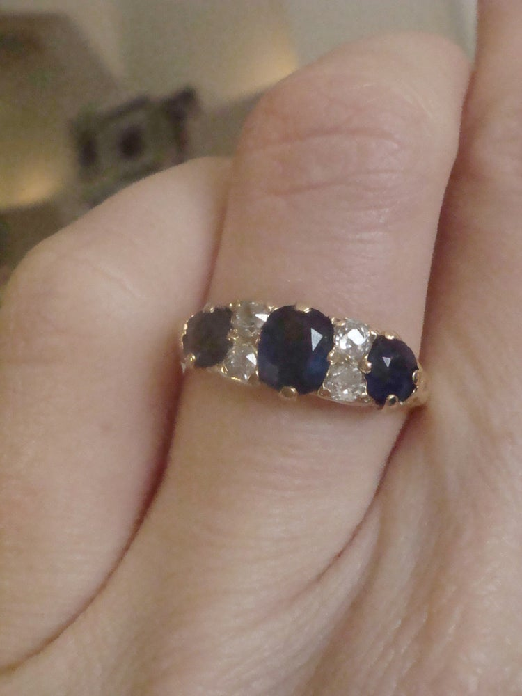 Image of EDWARDIAN 18CT NATURAL CUSHION CUT SAPPHIRE AND DIAMOND 3 STONE BOAT RING