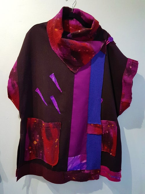 Image of fabric collage vest, burgundy and purple