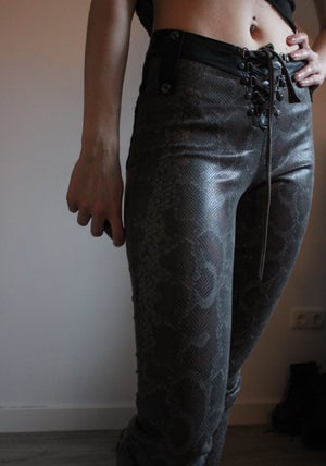 Image of THE PILGRIM GREY SNAKE SKIN AND SUEDE PANTS