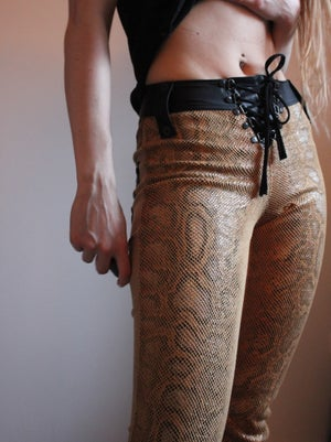 Image of THE PILGRIM YELLOW SNAKE SKIN AND SUEDE PANTS
