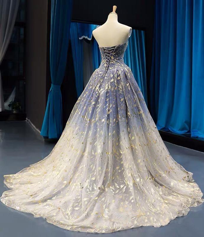 Unique Floral  Gradient Long Prom Dress, Evening Gown Party Dress