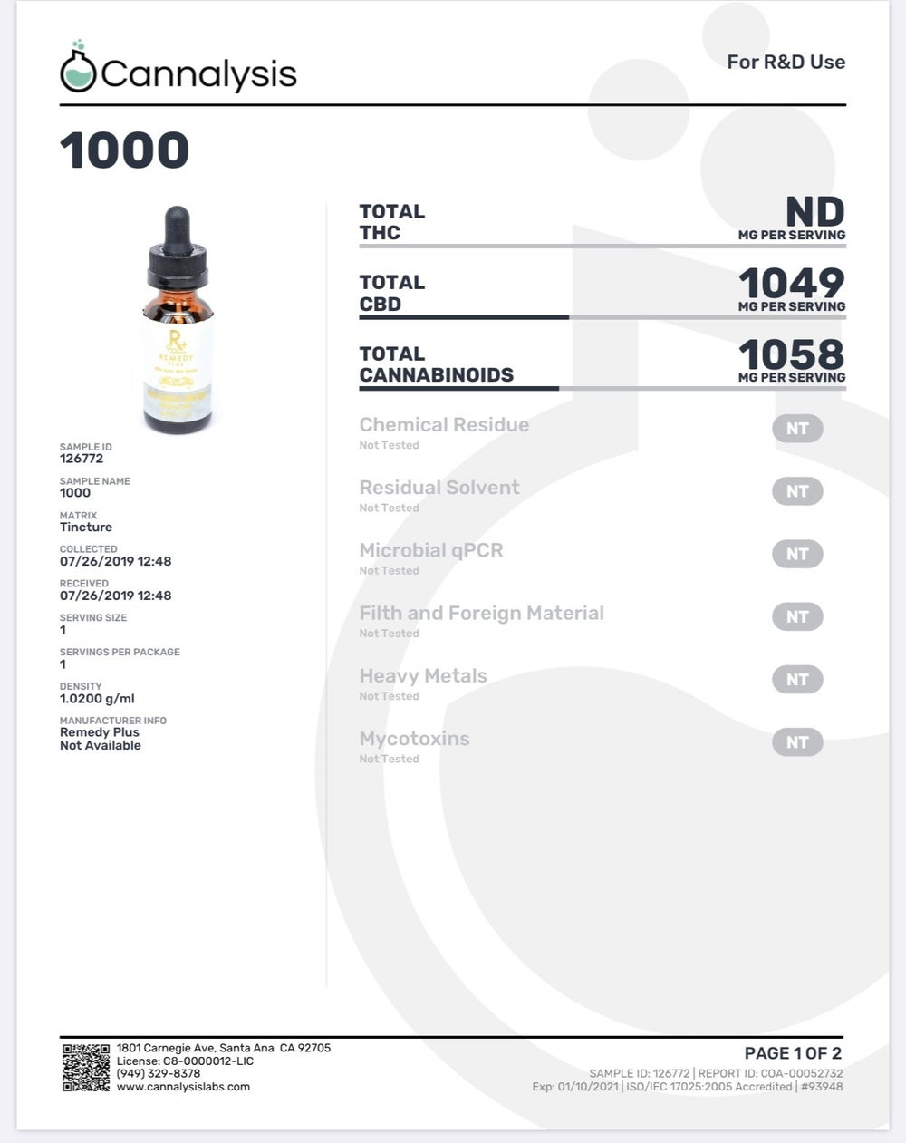 1000mg *NO THC* Daily Health Tincture  - NEW - Remedy+