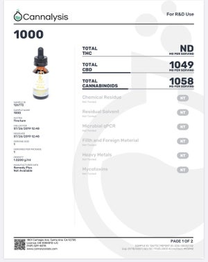 NEW - Remedy+ Daily Health Tincture 1000mg *NO THC*