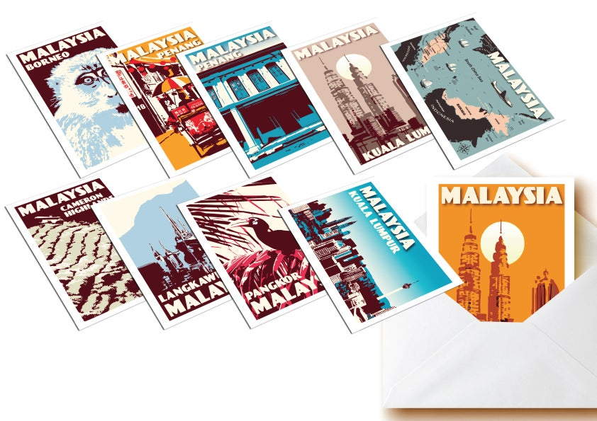 Image of Postcards Malaysia - Set of 10 vintage postcards - Greeting cards - Malaysia