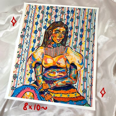 Image of seated lady print