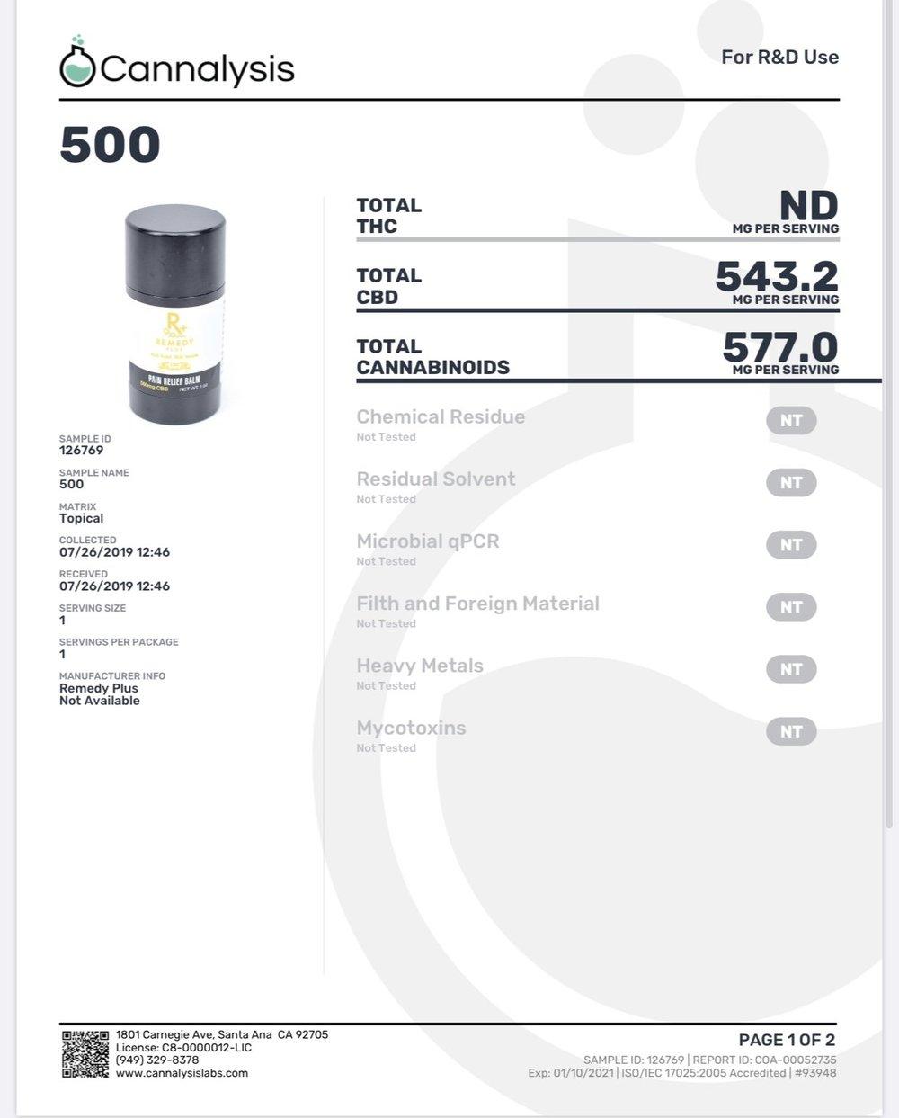 500mg - Pain Relief Balm- Remedy+ CBD