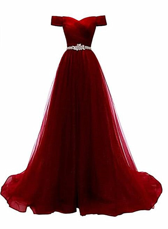Burgundy Beaded Tulle New Style Prom Dress 2021, Tulle Party Dress