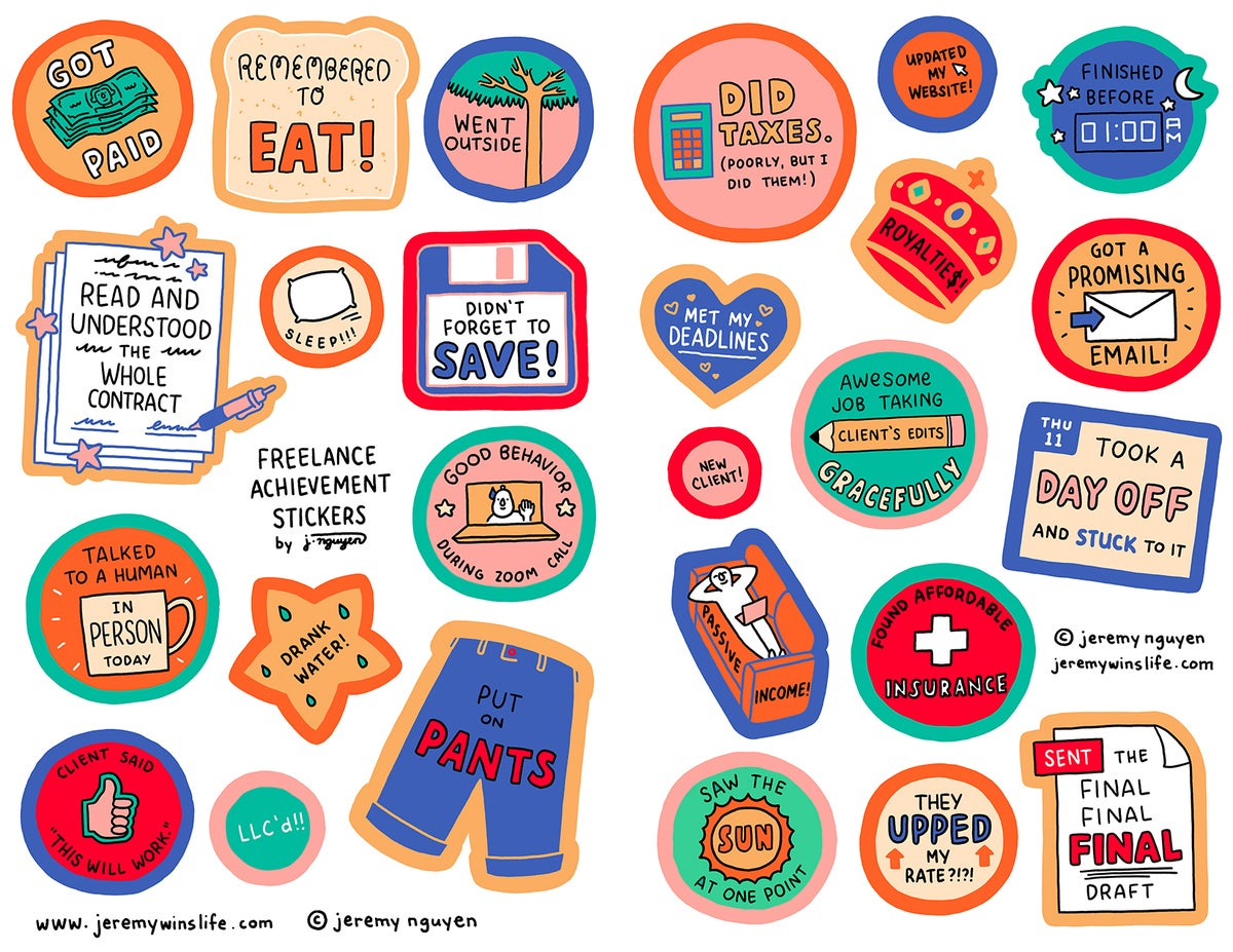 Image of Freelance Achievement Sticker Sheet Set