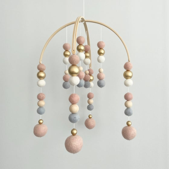 Image of Felt ball mobile - pink, grey, white & gold