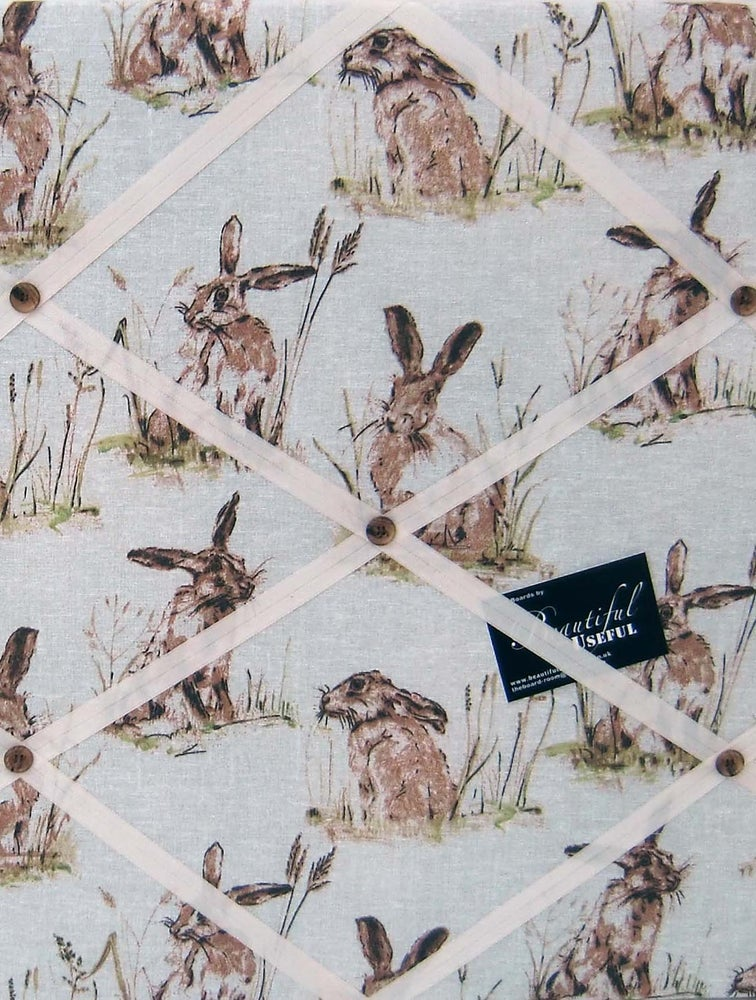Image of Hares/Rabbits fabric covered, box framed Memo/Pin/Message