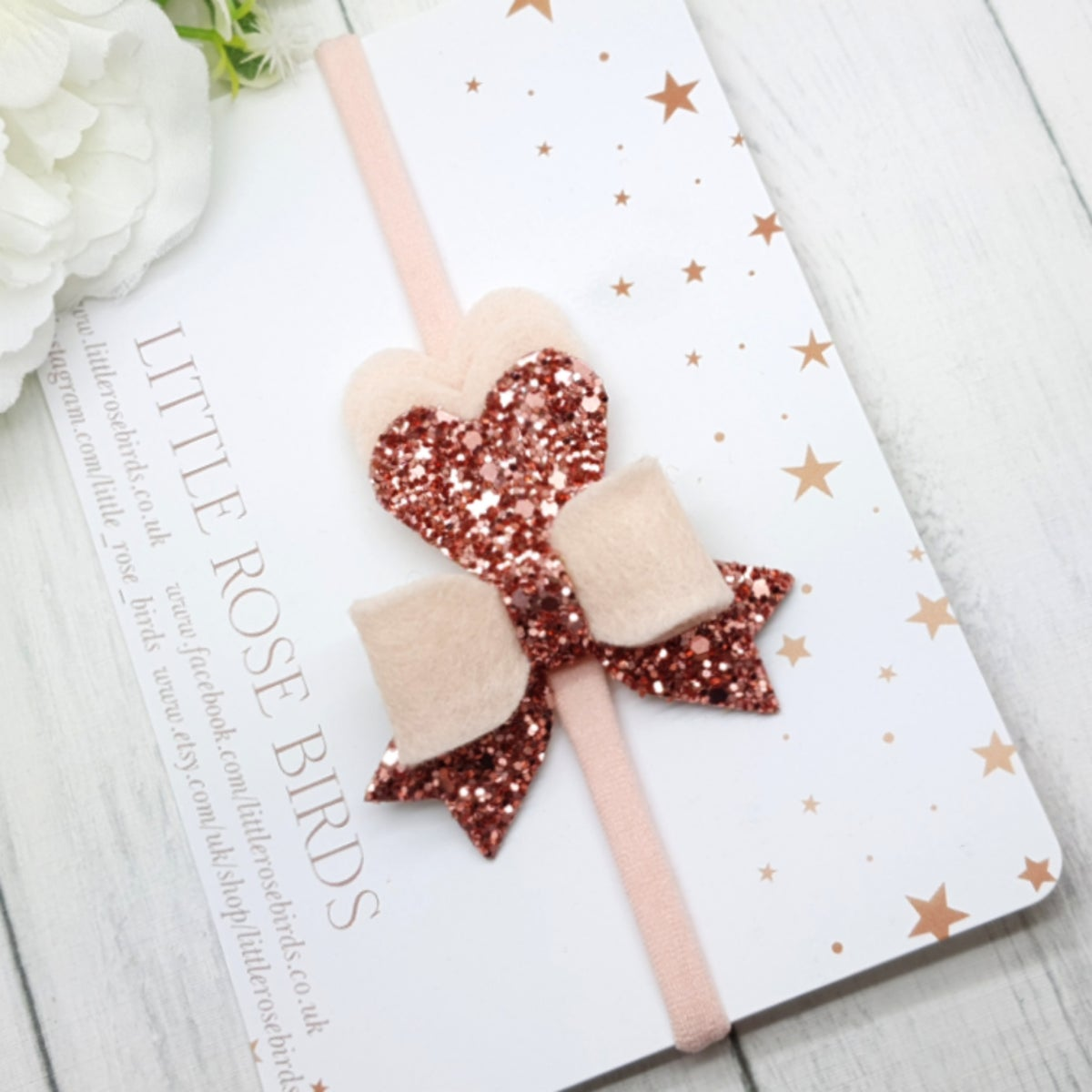 Image of Rose Gold Heart & Bow