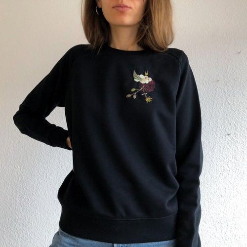 Image of Hybrid bird-cloud, hand embroidered organic cotton sweatshirt, available in ALL sizes