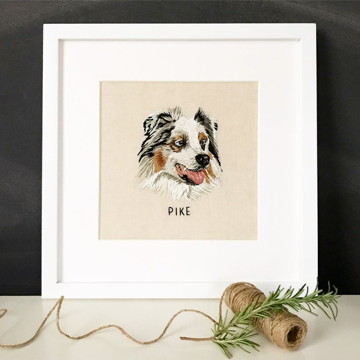 Custom Hand Embroidered Pet Portrait - FRAMED