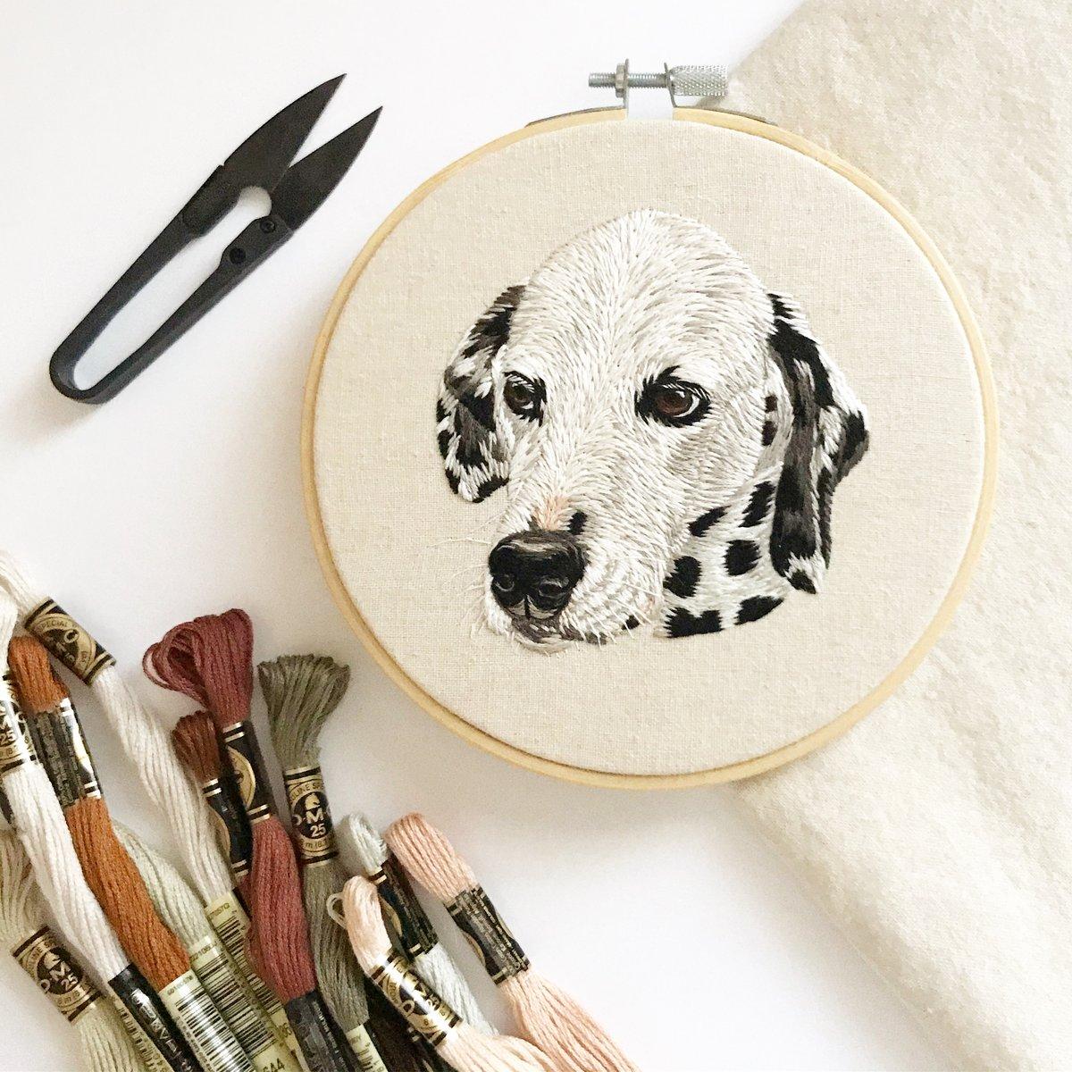 Custom Hand Embroidered Pet Portrait - HOOP