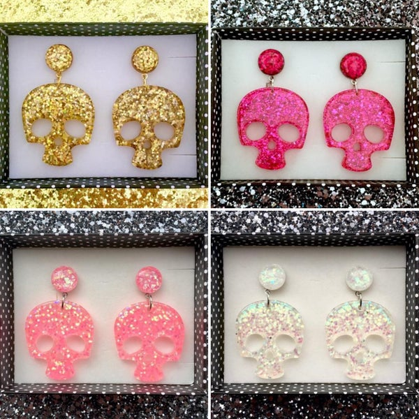 Image of SALE - 4 Colors - Dem Sparkly Bones Earrings