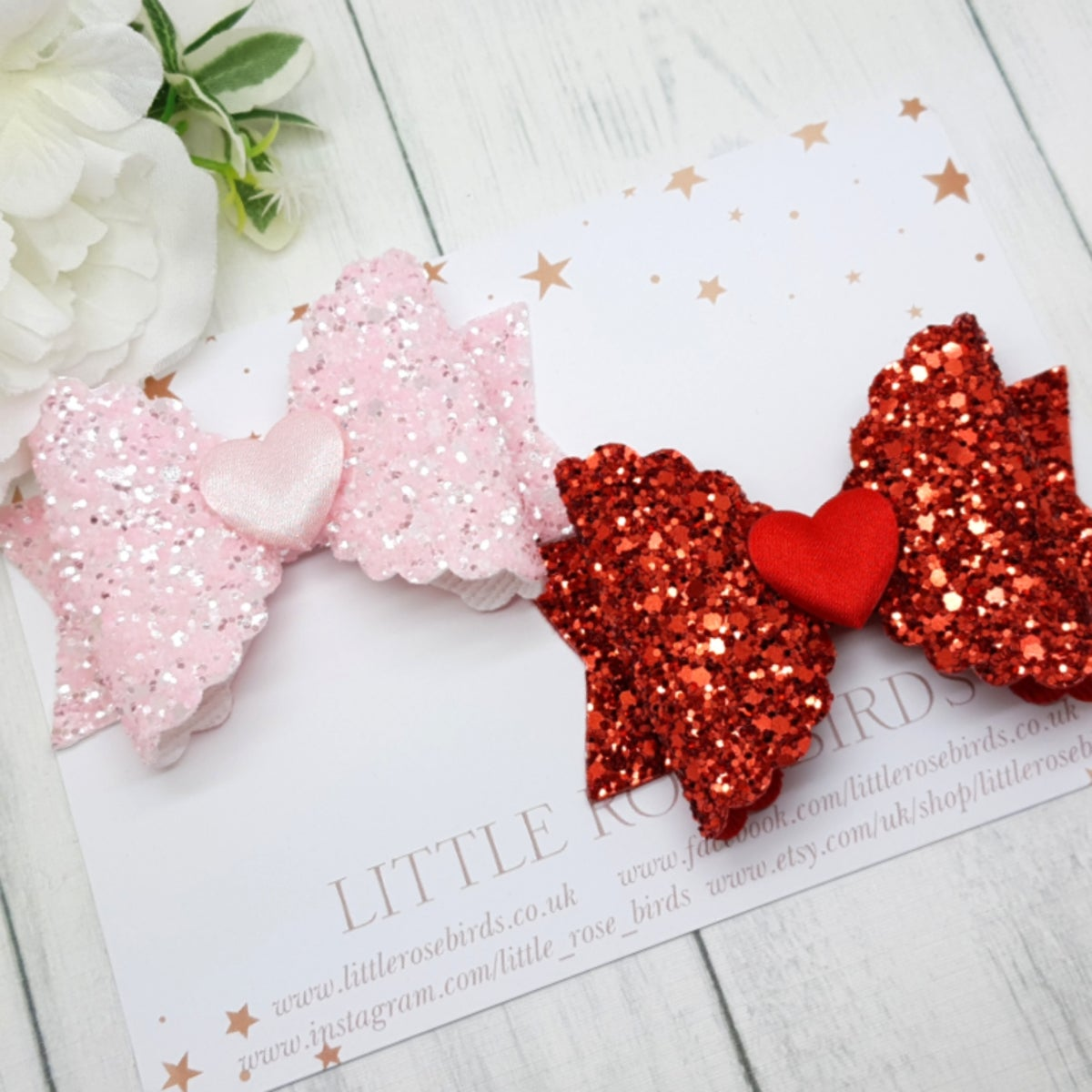 Image of Pink & Red Heart Bow Set