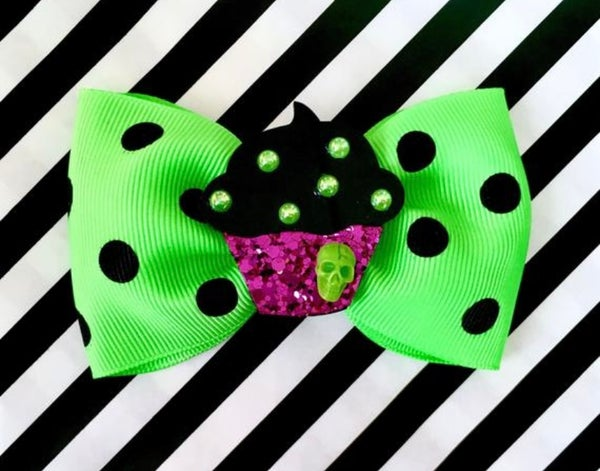 Image of Cupcake Sparkle Spooky Skull Hair Bow - Green