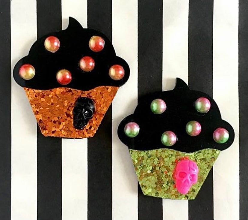 Image of SALE - 2 Colors - Cupcake Sparkle Spooky Skull Brooch