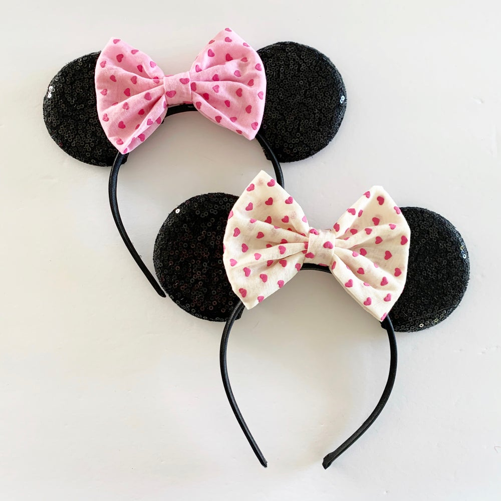 Image of Black Mouse Ears with Heart Bow