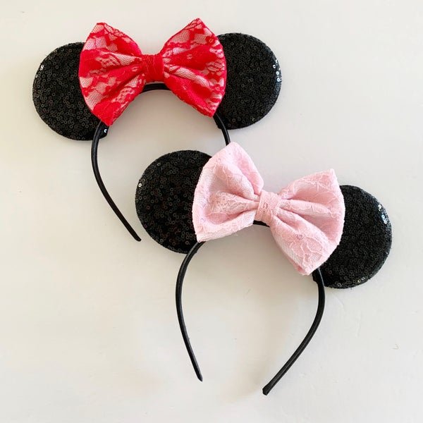 Image of Black Mouse Ears with Valentines Lace Bow
