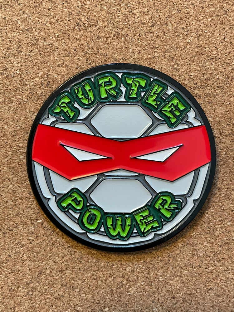 "Image of 2"" TURTLE POWER PIN!! 5 BUYING OPTIONS"