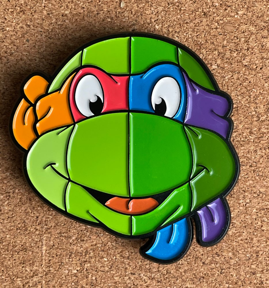 """Image of 2"""" 4-in-1 Turtle Face Soft Enamel Pin"""
