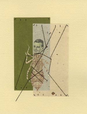 Image of Wound up and strung out. Original framed collage.