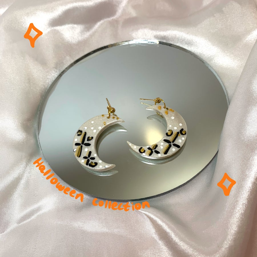 Image of silver & gold moon dangles