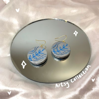Image of blue & silver circle dangles