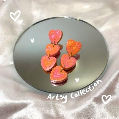 Image of orange & pink heart dangles