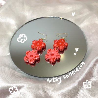 Image of pink & red flower dangles