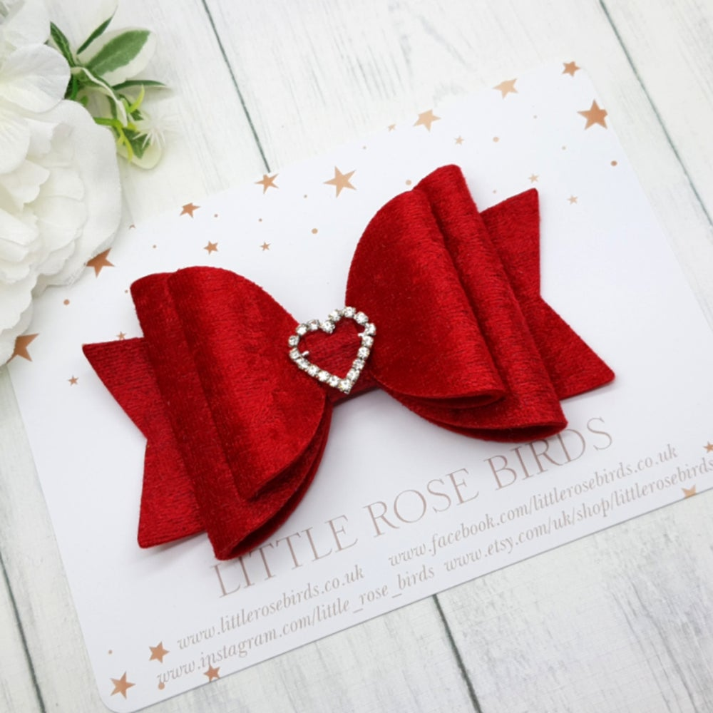 Image of Red Velvet Heart Bow