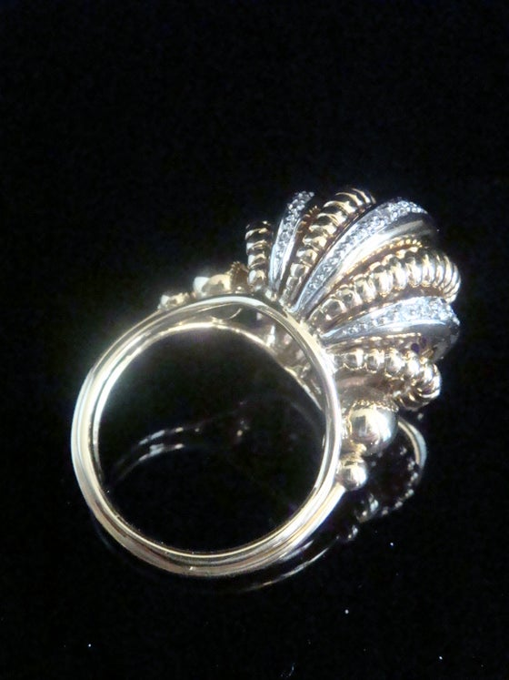 Image of RETRO 1950s 18CT PLATINUM DIAMOND BOMBE SET COCKTAIL DESIGNER RING 15.1g