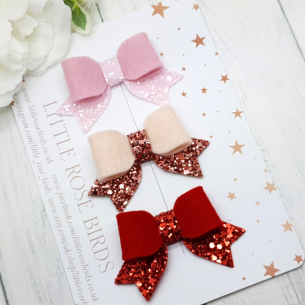 Image of Set of 3 Felt & Glitter Bows