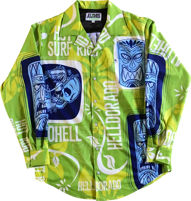 Image of ALOHELL GREEN LONG SLEEVE