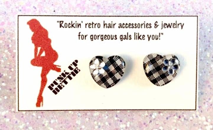Image of SALE - 3 Colors - Gingham Cutie Heart & Flowers Earrings