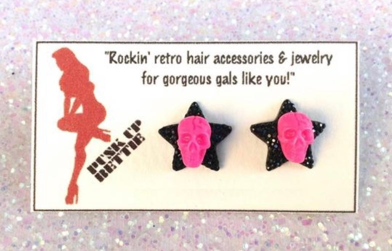 Image of SALE - 4 Colors - Psycho Lucky Skulls and Stars Earrings