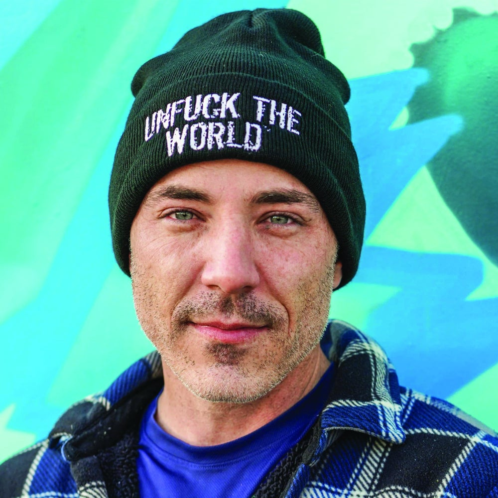 """Image of OFFICIAL """"UNFUCK THE WORLD"""" BLACK BEANIE"""