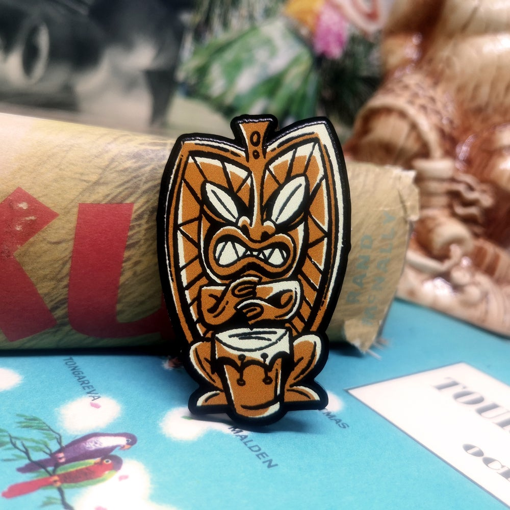 Image of Bongo Beatin' Tiki - Acrylic Pin