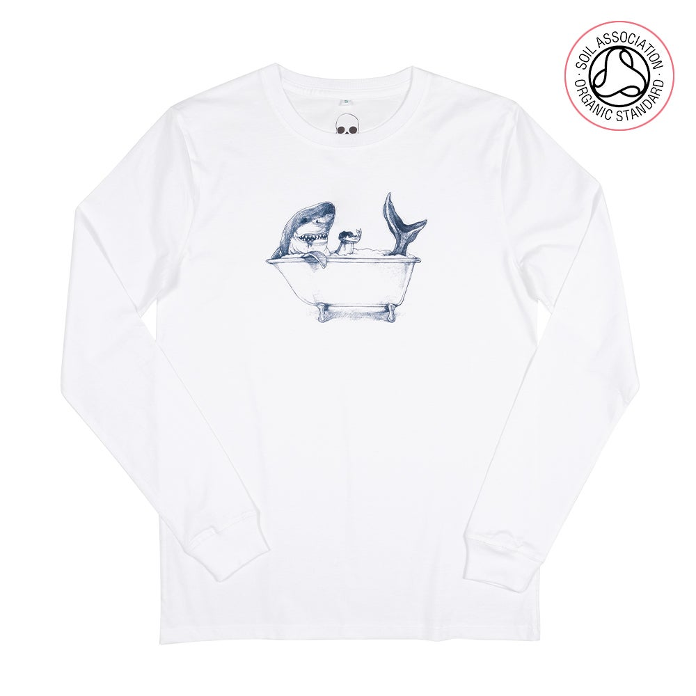 Shark White Unisex Long-Sleeve (Organic)