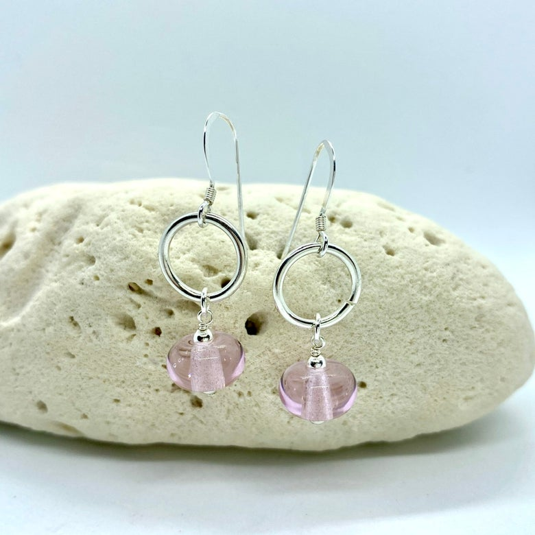 Image of Transparent Pink Ring Dangle Earrings