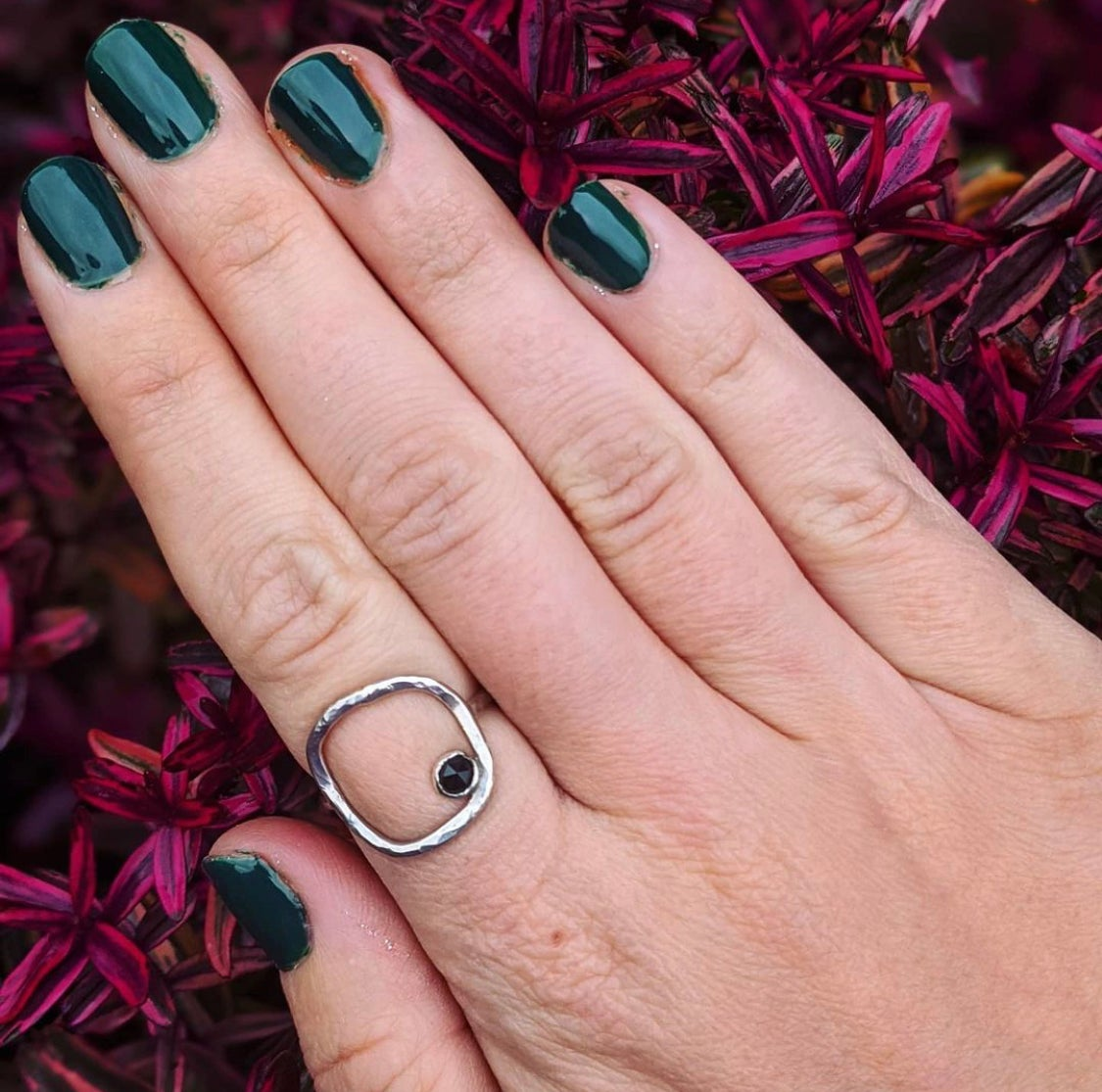 Image of Black Spinel Sterling Silver 925 Square Ring