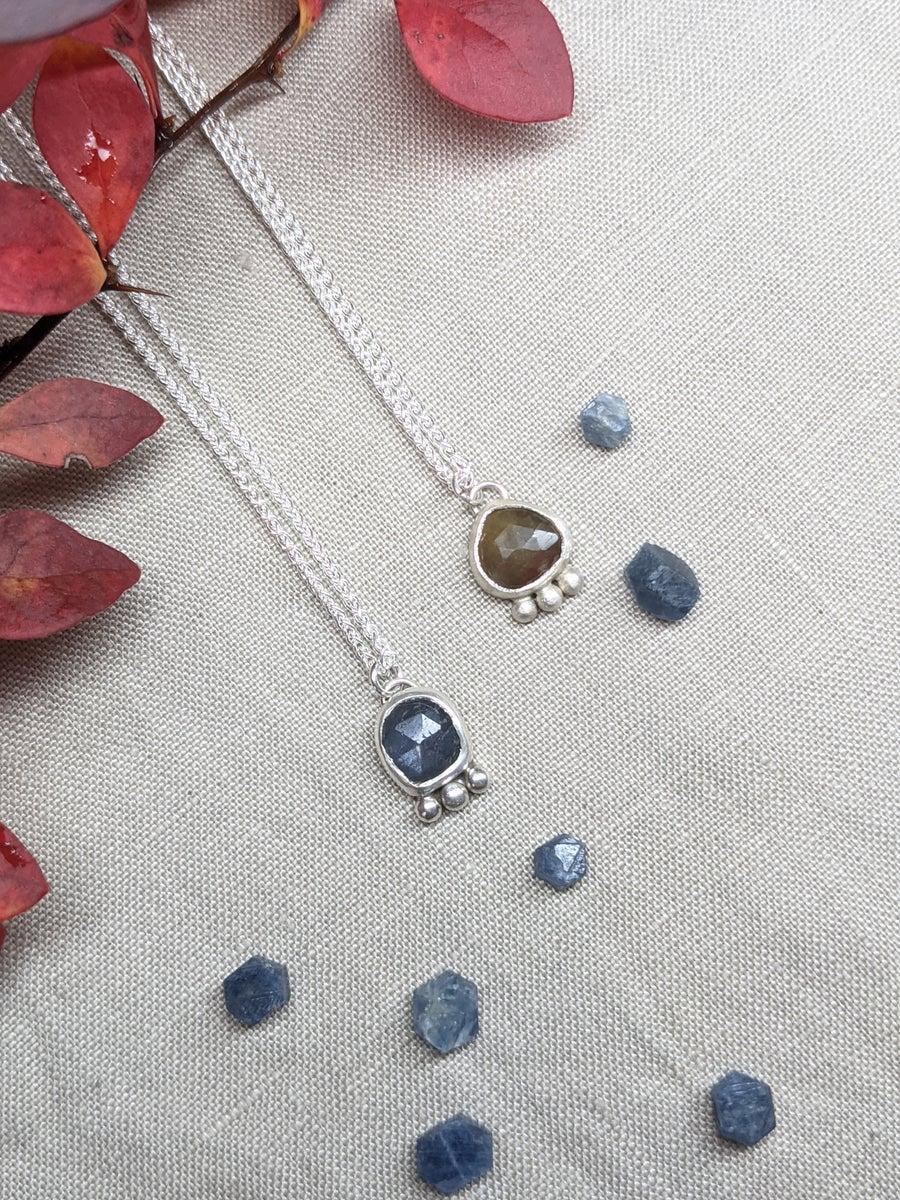 Image of Sapphire Sterling Silver 925 Pendant Necklace
