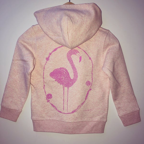 Image of Kid's Cream Pink Hoodie *Flamingo*