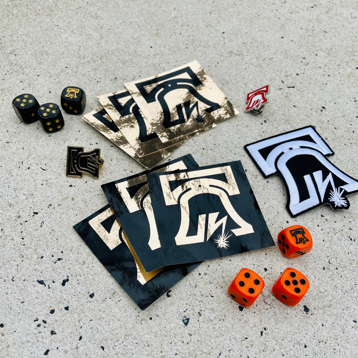 Image of Liberty Bell Enamel Pin, Patch, Dice and Sticker