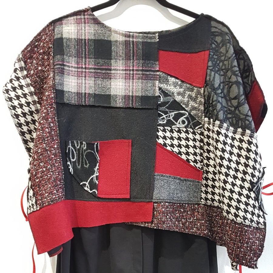 Image of cropped top...fabric collage
