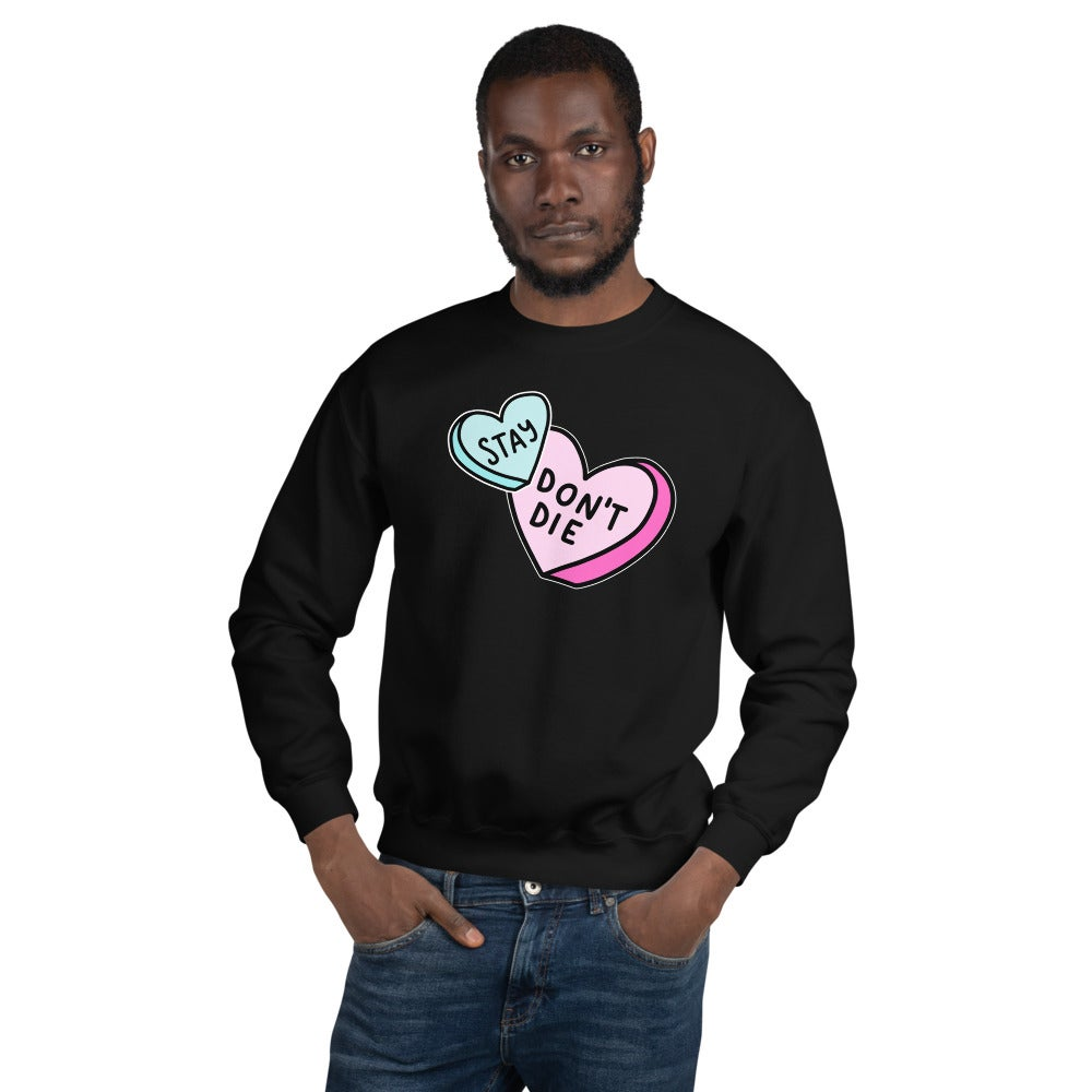 Image of Unisex Suicide 'n' Stuff x Live Through This Conversation Hearts Crew Neck Sweater